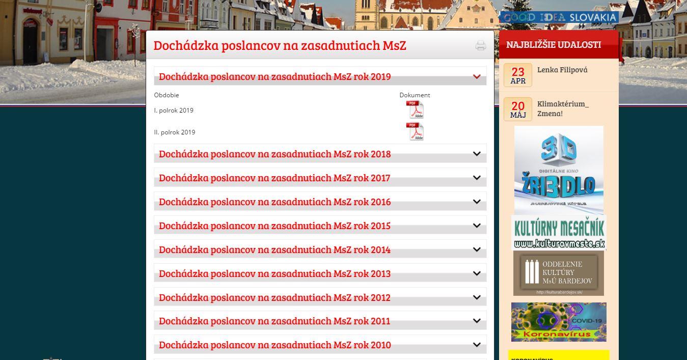 Aktualizácia mestskej stránky má medzery.